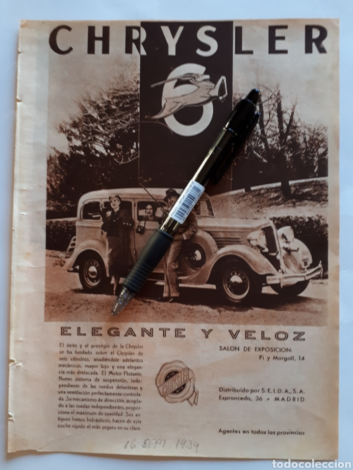 CHRYSLER. HOJA CON PUBLICIDAD. 1934 (Coleccionismo - Laminas, Programas y Otros Documentos)
