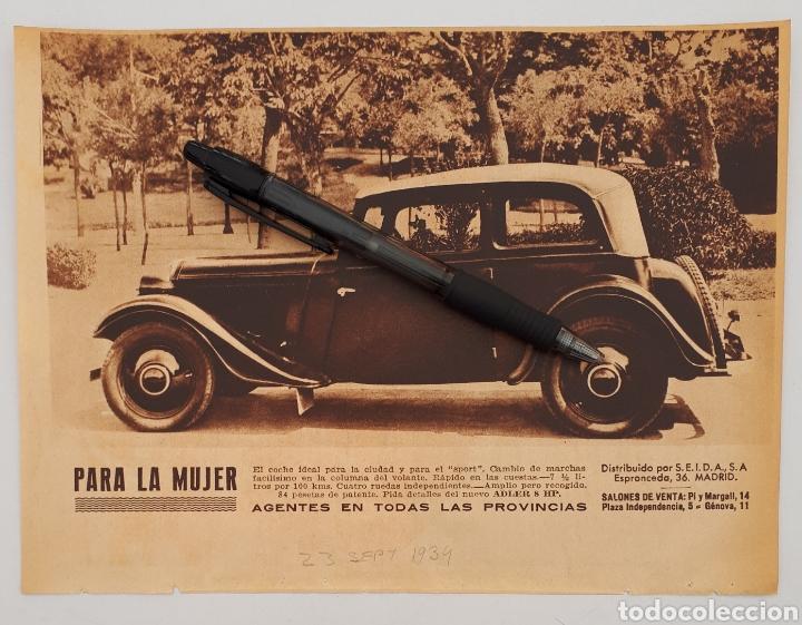 HOJA CON PUBLICIDAD ADLER 8 HP. 1934 (Coleccionismo - Laminas, Programas y Otros Documentos)