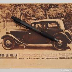 Coleccionismo: HOJA CON PUBLICIDAD ADLER 8 HP. 1934. Lote 151486265