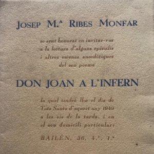 1949 Don Joan a l'infern. Josep M.ª Ribes Monfar 11,5x16 cm