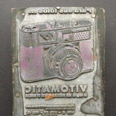 Coleccionismo: PLANCHA DE IMPRENTA DE LA CAMARA FOTOGRAFICA VITOMATIC DE VOIGTLANDER, ESPECIAL COLECCIONISTAS. Lote 151948046