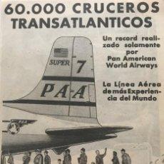 Coleccionismo: 1957 PUBLICIDAD LÍNEAS AÉREAS PAA 11,7X16,6 CM. Lote 151952662