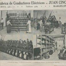 Coleccionismo: 1915 FÁBRICA DE CONDUCTORES ELÉCTRICOS JUAN CINCA 18,5X15,2 CM. Lote 151953542