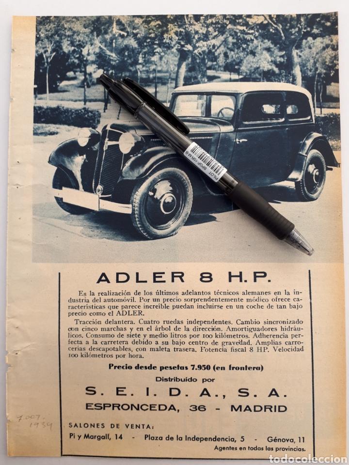 ADLER 8 HP / SEVILLA FERIA DE ABRIL. 1934 (Coleccionismo - Laminas, Programas y Otros Documentos)