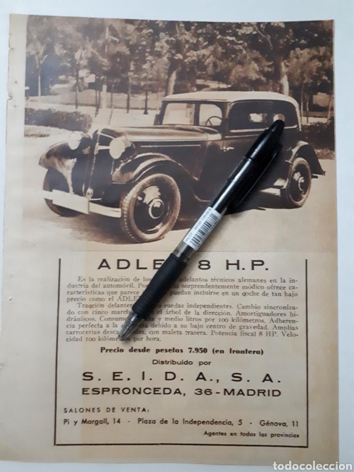 Coleccionismo: La Coruña. Reuniones clandestinas / Publicidad Adler 8 hp. 1934 - Foto 2 - 152482121