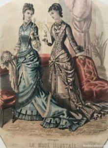 1879 Antigua lámina moda 20,6x27,3 cm
