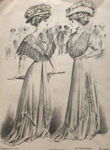 1908 Antigua lámina moda 18,6x28,1 cm