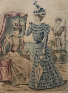 1897 Antigua lámina moda 18,5x26,5 cm