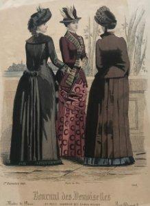 1883 Antigua lámina moda 17,6x24,9 cm
