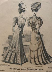1905 Antigua lámina moda 18,7x27 cm