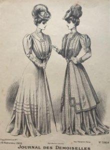 1905 Antigua lámina moda 18,2x27,2 cm