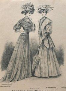 1907 Antigua lámina moda 17,9x26,6 cm