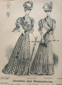1905 Antigua lámina moda 18,8x27,1 cm