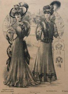 1908 Antigua lámina moda 18x27 cm