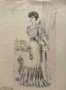 1906 Antigua lámina moda 18x27,8 cm