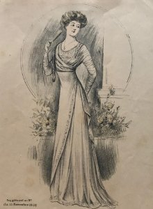 1908 Antigua lámina moda 18,2x27,8 cm
