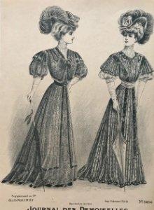 1907 Antigua lámina moda 18,4x27 cm