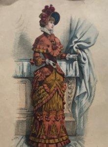 1907 Antigua lámina moda 20,3x30,6 cm