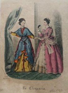1867 Antigua lámina moda 17,7x25,2 cm
