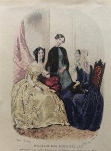 1849 Antigua lámina moda 17,6x26 cm