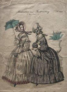 1840 Antigua lámina moda 14,7x23,4 cm