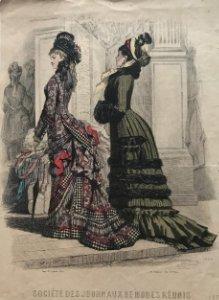 1879 Antigua lámina moda 20,7x30,5 cm