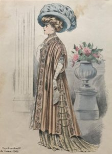 1908 Antigua lámina moda 17,8x27,2 cm