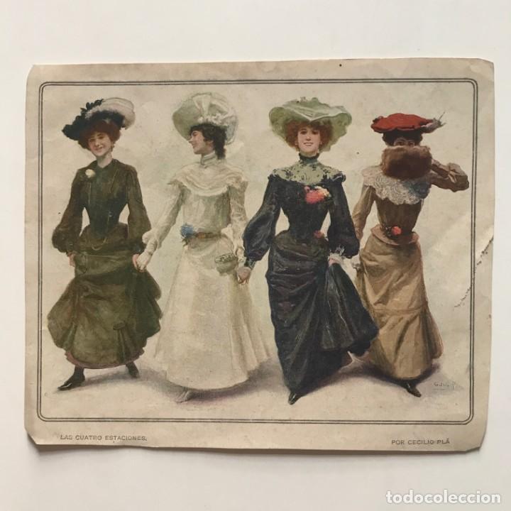 Coleccionismo: Antigua lámina moda 18x15 cm - Foto 2 - 153056602