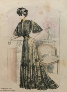 1907 Antigua lámina moda 21,7x32,5 cm