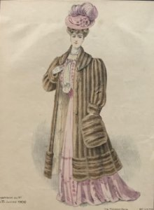 1906 Antigua lámina moda 21,7x32,5 cm