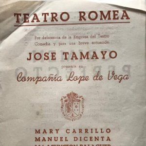 1954 Teatro Romea. Jose Tamayo. Crimen perfecto 15,9x21,6 cm