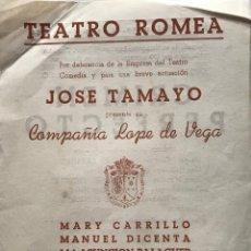 Coleccionismo: 1954 TEATRO ROMEA. JOSE TAMAYO. CRIMEN PERFECTO 15,9X21,6 CM. Lote 153073766