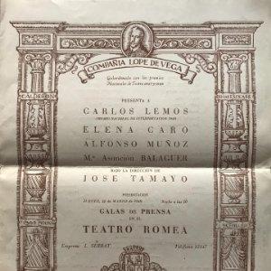 1949 Teatro Romea. Compañía Lope de Vega 24,9x31 cm