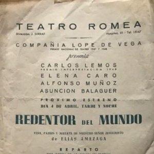 1947-48 Teatro Romea. Programa de mano. Redentor del mundo 17,5x45 cm