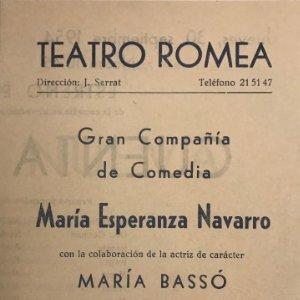 1954 Teatro Romea. Maria Esperanza Navarro. Cuenta nueva 12,3x17,5 cm