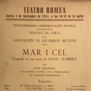 1954 Teatro Romea. Mar i Cel 15,9x22,1 cm