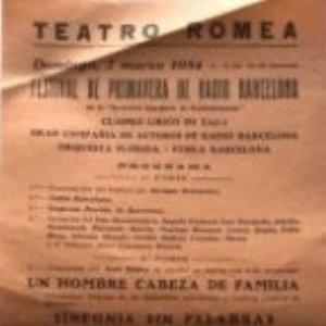 1954 Teatro Romea. Festival de primavera de radio Barcelona 14,3x31 cm