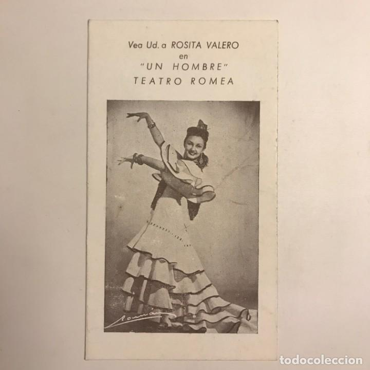 Teatro Romea. Rosita Valero en Un hombre 8x14,2 cm - 153079842