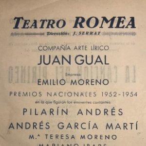 1955 Teatro Romea. La canción del Pirineo 14,1x22,3 cm