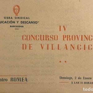 1955 Teatro Romea. IV Concurso Provincial de Villancicos 17,2x11,3 cm
