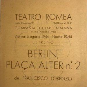 1954 Teatro Romea. Berlín, plaça Alter nº2. 13,8x17,3 cm