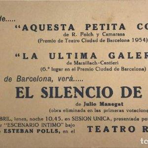 1954 Teatro Romea. El silencio de Dios 19x10,8 cm