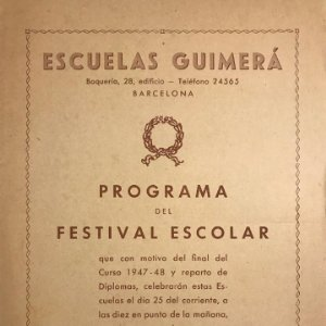 1947 Teatro Romea. Programa de mano. Escuelas Guimerá 16,1x22 cm