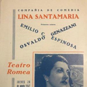 1947 Teatro Romea. Programa de mano. Lina Santamaría 15,5x22,3 cm