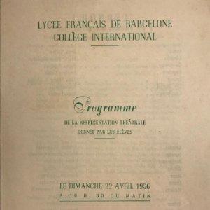 1956 Teatro Romea. Programa de mano. Lycée Français de Barcelone 13,7x17,9 cm