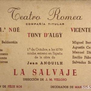 Teatro Romea. La salvaje 16,2x10,6 cm
