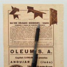 Coleccionismo: JAÉN. HOJA CON PUBLICIDAD. 1934. Lote 153186465