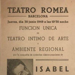 1949 Teatro Romea. Isabel Estorch. Les grantes volen rei 14,6x32 cm