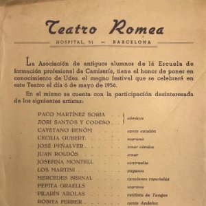 1956 Teatro Romea. Escuela de Camisería. Orquesta Ventura 14,6x32 cm