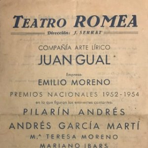 1955 Teatro Romea. Compañía arte lírico Juan Gual 13,7x21,7 cm
